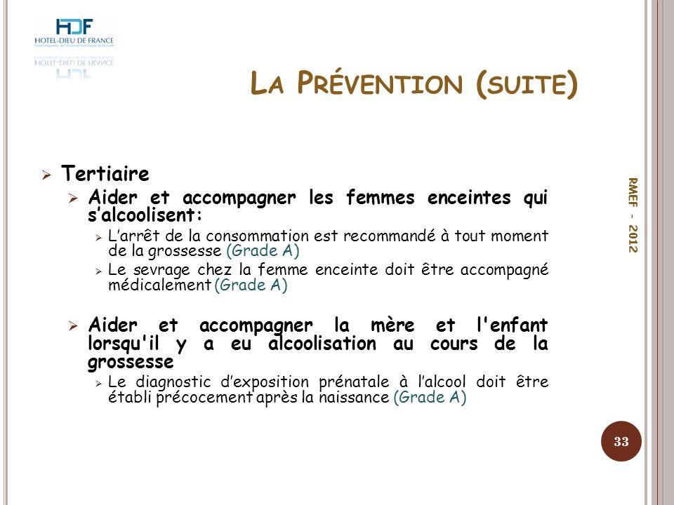 L A P RÉVENTION ( SUITE ) Tertiaire Aider et accompagner les femmes enceintes qui salcoolisent: Larrêt de la consommation est recommandé à tout moment
