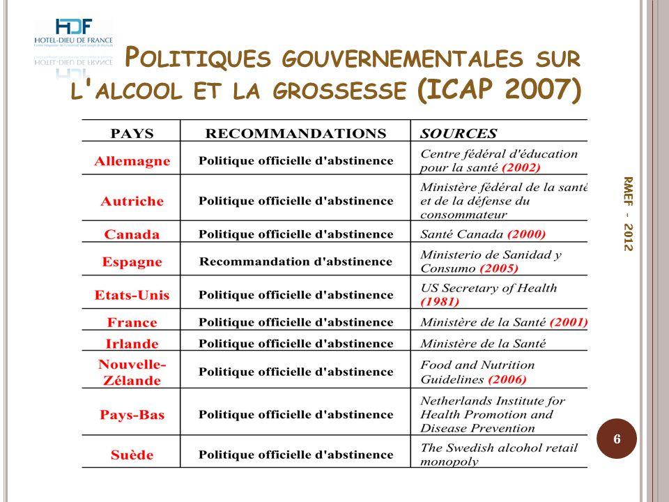 P OLITIQUES GOUVERNEMENTALES SUR L ' ALCOOL ET LA GROSSESSE (ICAP 2007) 6 RMEF - 2012