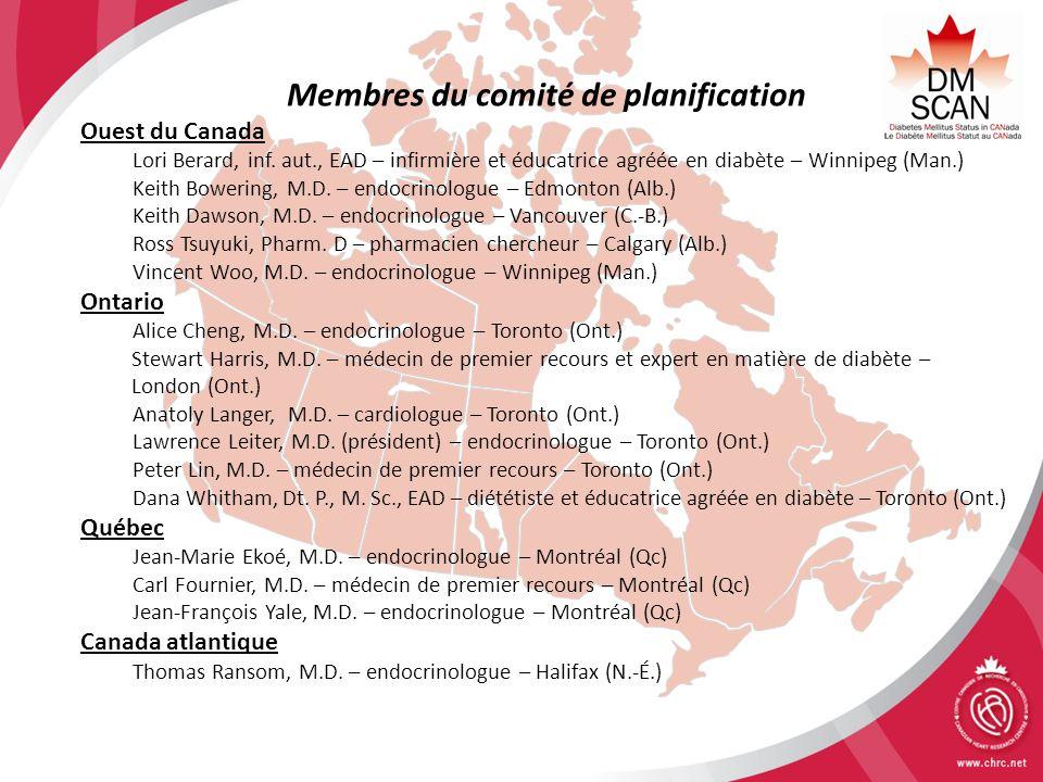 Membres du comité de planification Ouest du Canada Lori Berard, inf. aut., EAD – infirmière et éducatrice agréée en diabète – Winnipeg (Man.) Keith Bo