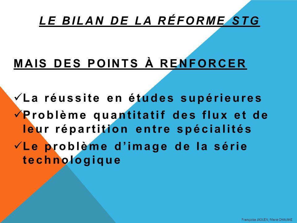 LE BILAN DE LA RÉFORME STG MAIS DES POINTS À RENFORCER La réussite en études supérieures Problème quantitatif des flux et de leur répartition entre sp