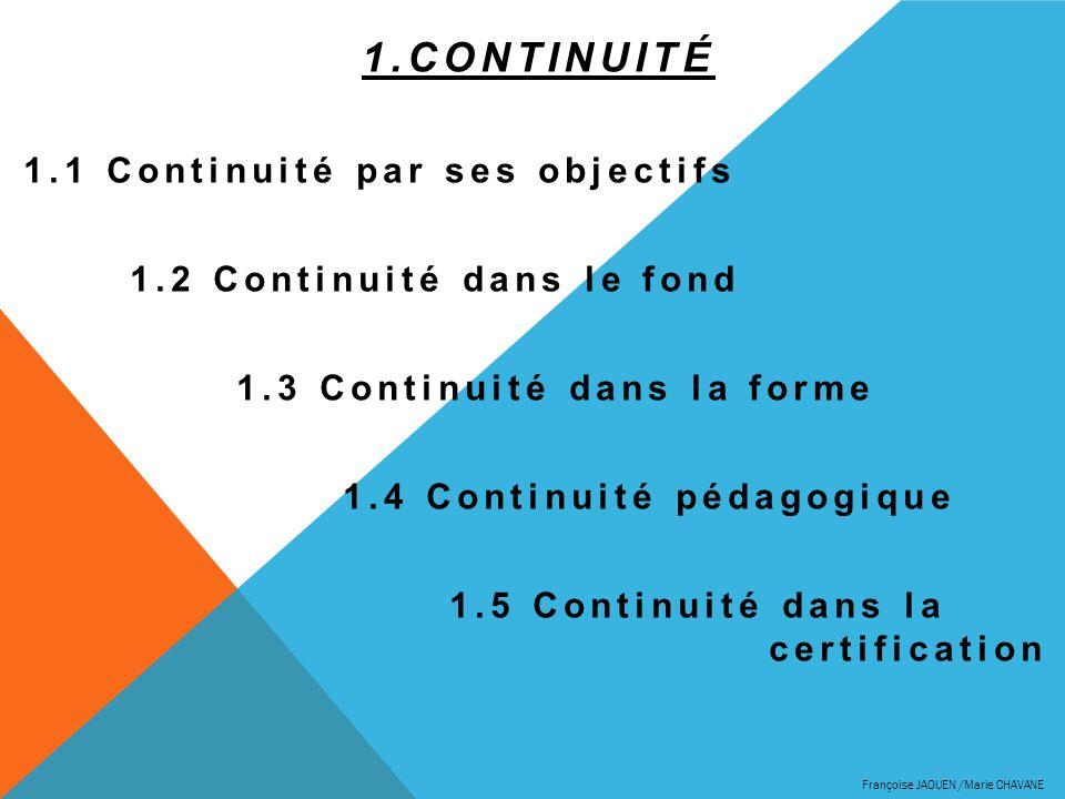 1.CONTINUITÉ 1.1 Continuité par ses objectifs 1.2 Continuité dans le fond 1.3 Continuité dans la forme 1.4 Continuité pédagogique 1.5 Continuité dans