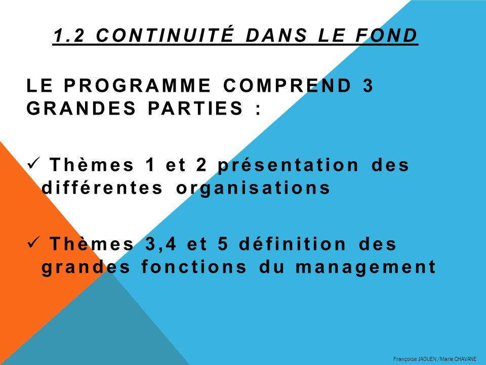 1.2 CONTINUITÉ DANS LE FOND LE PROGRAMME COMPREND 3 GRANDES PARTIES : Thèmes 1 et 2 présentation des différentes organisations Thèmes 3,4 et 5 définit