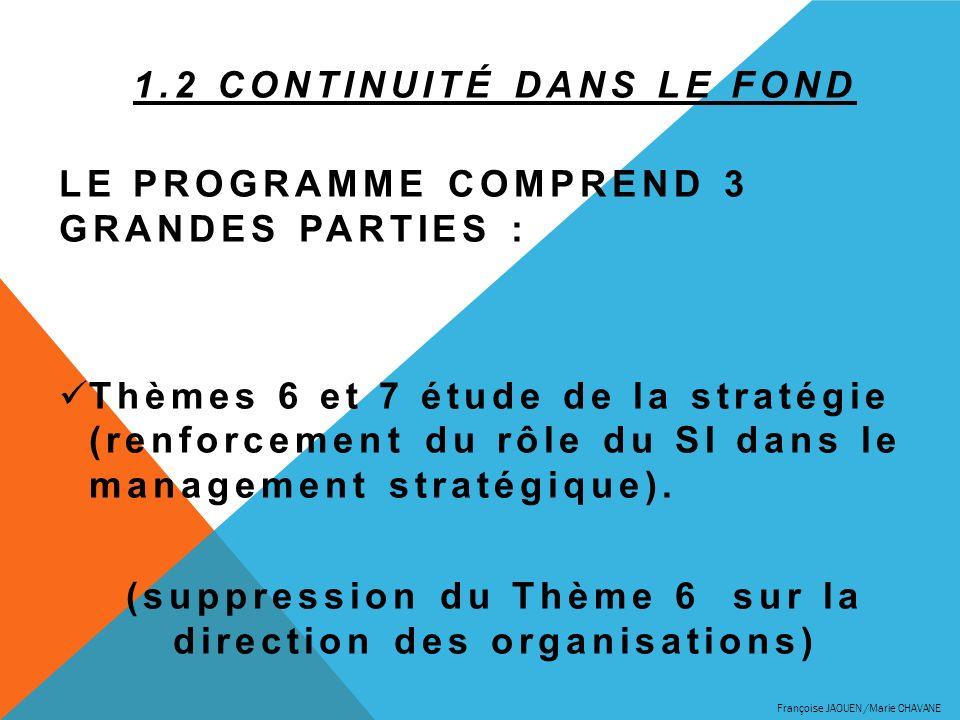 1.2 CONTINUITÉ DANS LE FOND LE PROGRAMME COMPREND 3 GRANDES PARTIES : Thèmes 6 et 7 étude de la stratégie (renforcement du rôle du SI dans le manageme