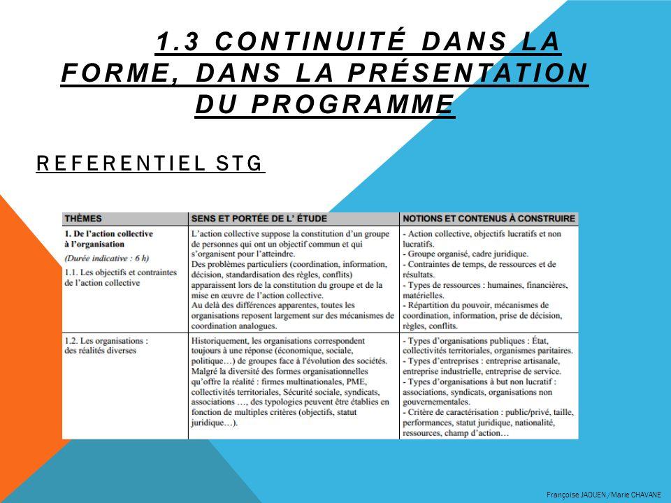 1.3 CONTINUITÉ DANS LA FORME, DANS LA PRÉSENTATION DU PROGRAMME REFERENTIEL STG Françoise JAOUEN /Marie CHAVANE
