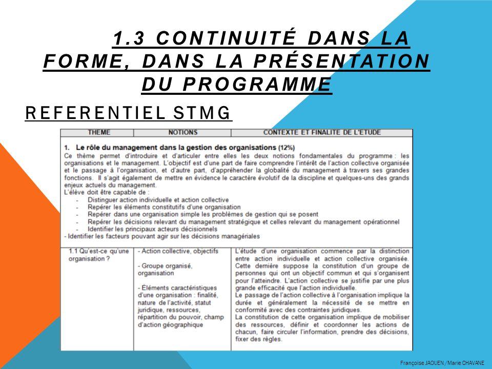 1.3 CONTINUITÉ DANS LA FORME, DANS LA PRÉSENTATION DU PROGRAMME REFERENTIEL STMG Françoise JAOUEN /Marie CHAVANE