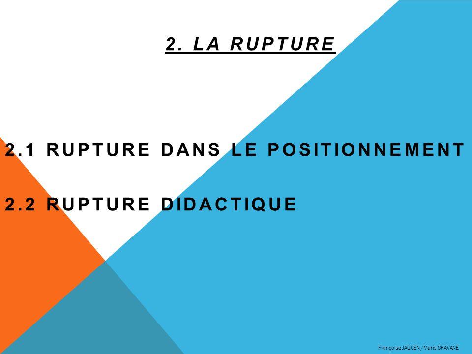 2. LA RUPTURE 2.1 RUPTURE DANS LE POSITIONNEMENT 2.2 RUPTURE DIDACTIQUE Françoise JAOUEN /Marie CHAVANE