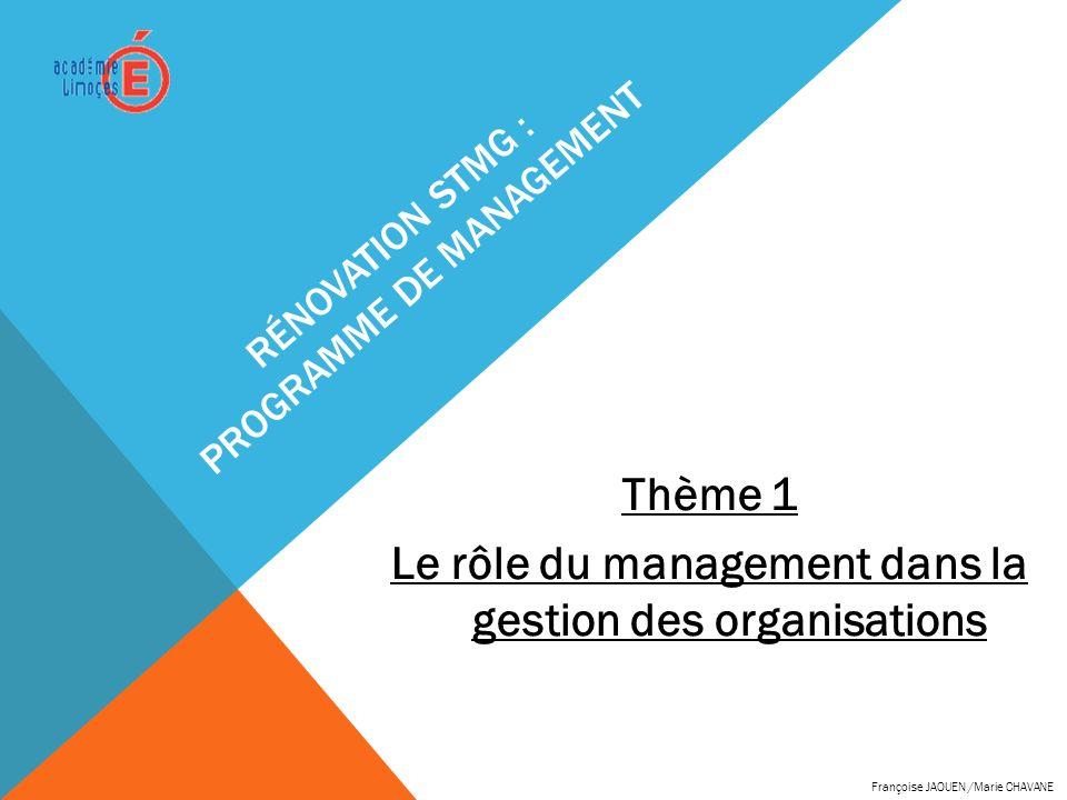 RÉNOVATION STMG : PROGRAMME DE MANAGEMENT Thème 1 Le rôle du management dans la gestion des organisations Françoise JAOUEN /Marie CHAVANE