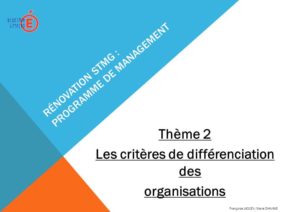 RÉNOVATION STMG : PROGRAMME DE MANAGEMENT Thème 2 Les critères de différenciation des organisations Françoise JAOUEN /Marie CHAVANE