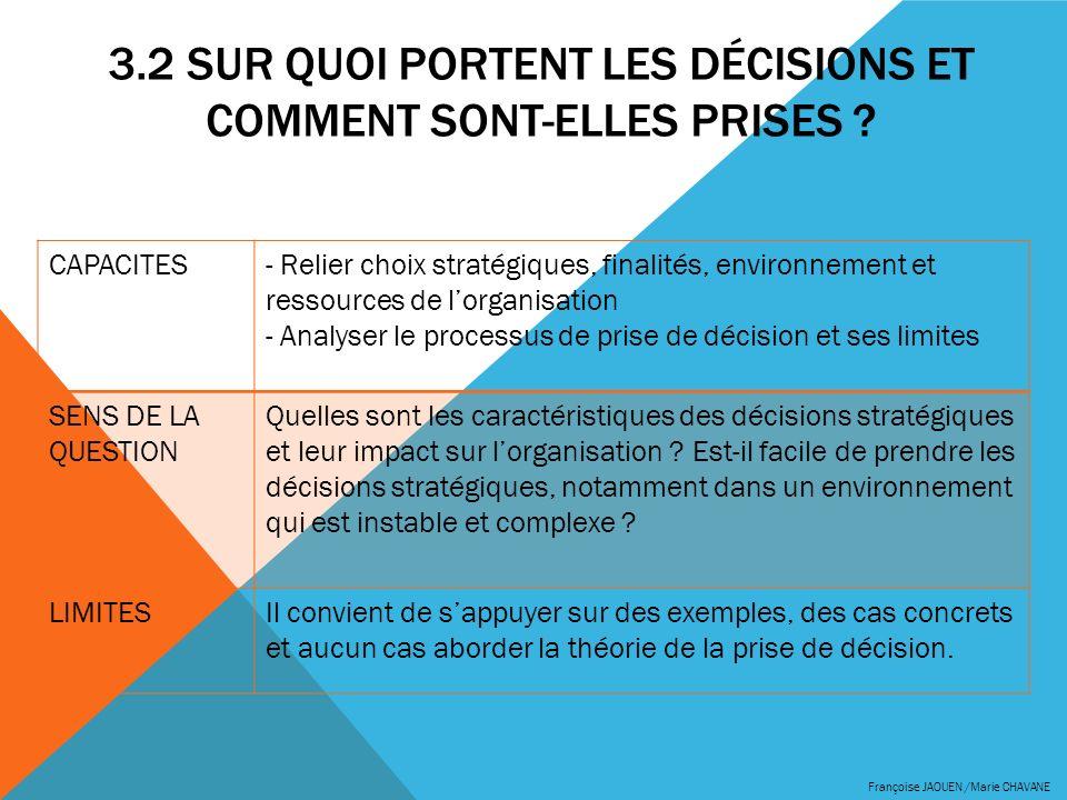 3.2 SUR QUOI PORTENT LES DÉCISIONS ET COMMENT SONT-ELLES PRISES ? Françoise JAOUEN /Marie CHAVANE CAPACITES- Relier choix stratégiques, finalités, env