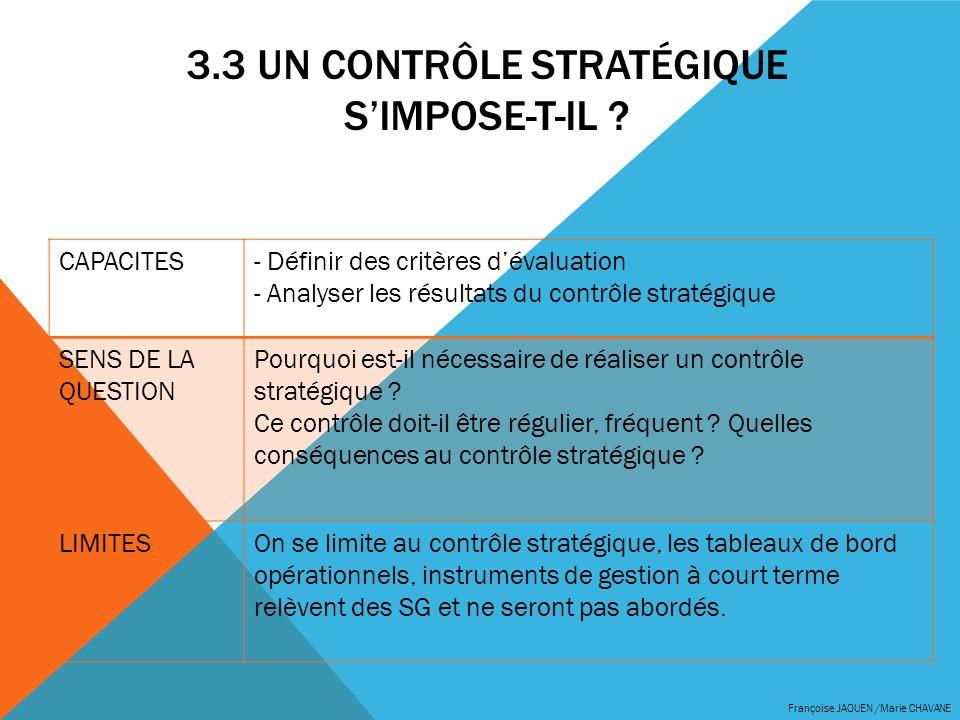 3.3 UN CONTRÔLE STRATÉGIQUE SIMPOSE-T-IL ? Françoise JAOUEN /Marie CHAVANE CAPACITES- Définir des critères dévaluation - Analyser les résultats du con