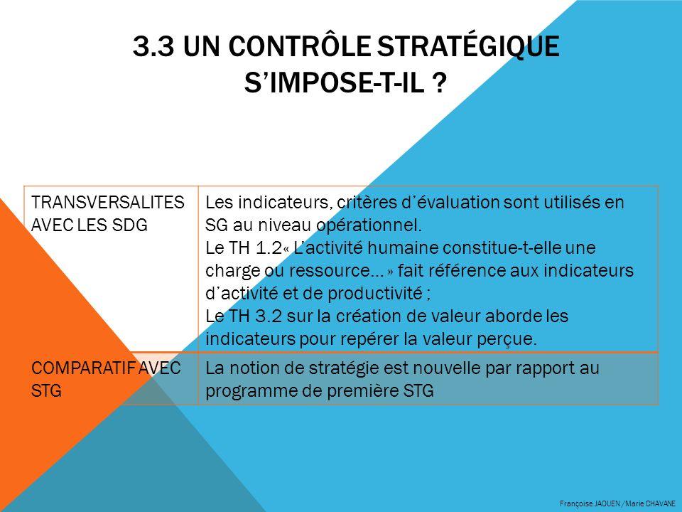 3.3 UN CONTRÔLE STRATÉGIQUE SIMPOSE-T-IL ? Françoise JAOUEN /Marie CHAVANE TRANSVERSALITES AVEC LES SDG Les indicateurs, critères dévaluation sont uti