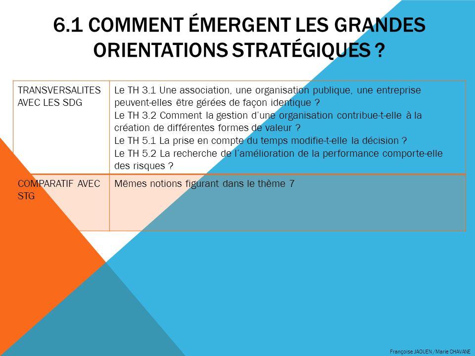 6.1 COMMENT ÉMERGENT LES GRANDES ORIENTATIONS STRATÉGIQUES ? Françoise JAOUEN /Marie CHAVANE TRANSVERSALITES AVEC LES SDG Le TH 3.1 Une association, u