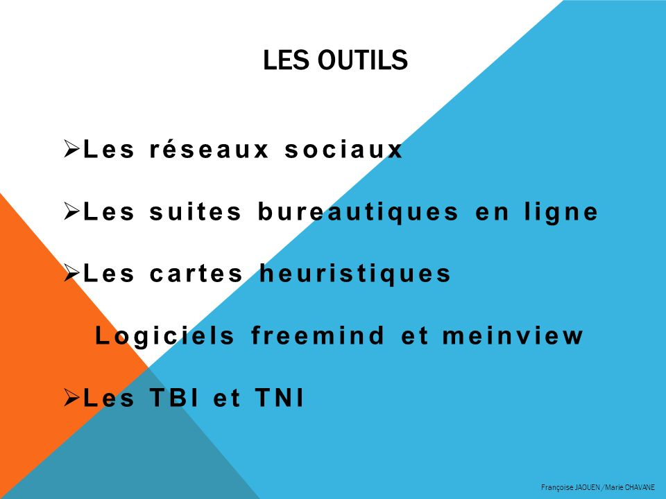 LES OUTILS Françoise JAOUEN /Marie CHAVANE Les réseaux sociaux Les suites bureautiques en ligne Les cartes heuristiques Logiciels freemind et meinview