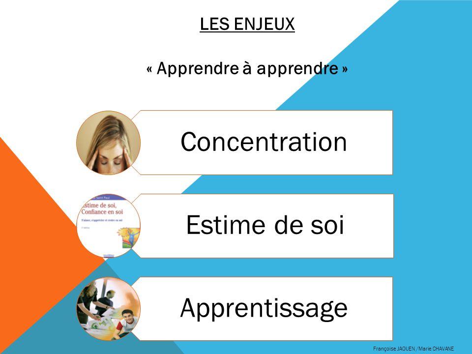 Françoise JAOUEN /Marie CHAVANE Concentration Estime de soi Apprentissage LES ENJEUX « Apprendre à apprendre »