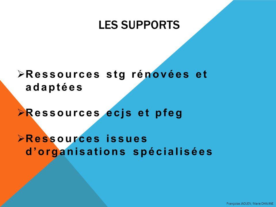 LES SUPPORTS Françoise JAOUEN /Marie CHAVANE Ressources stg rénovées et adaptées Ressources ecjs et pfeg Ressources issues dorganisations spécialisées