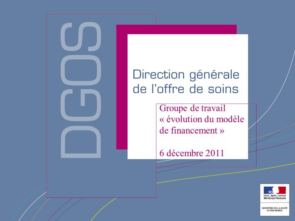 Direction générale de loffre de soin Groupe de travail « évolution du modèle de financement » 6 décembre 2011