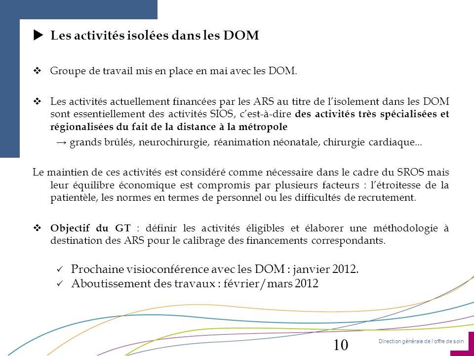 Direction générale de loffre de soin Les activités isolées dans les DOM Groupe de travail mis en place en mai avec les DOM. Les activités actuellement