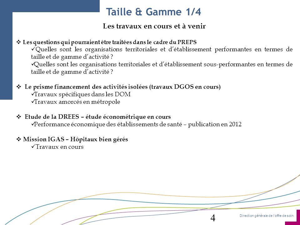 Direction générale de loffre de soin Taille & Gamme 1/4 Les travaux en cours et à venir Les questions qui pourraient être traitées dans le cadre du PR