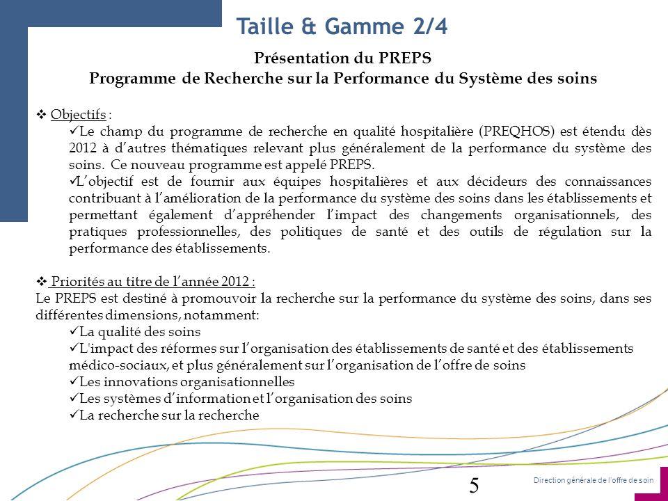 Direction générale de loffre de soin Présentation du PREPS Programme de Recherche sur la Performance du Système des soins Objectifs : Le champ du prog