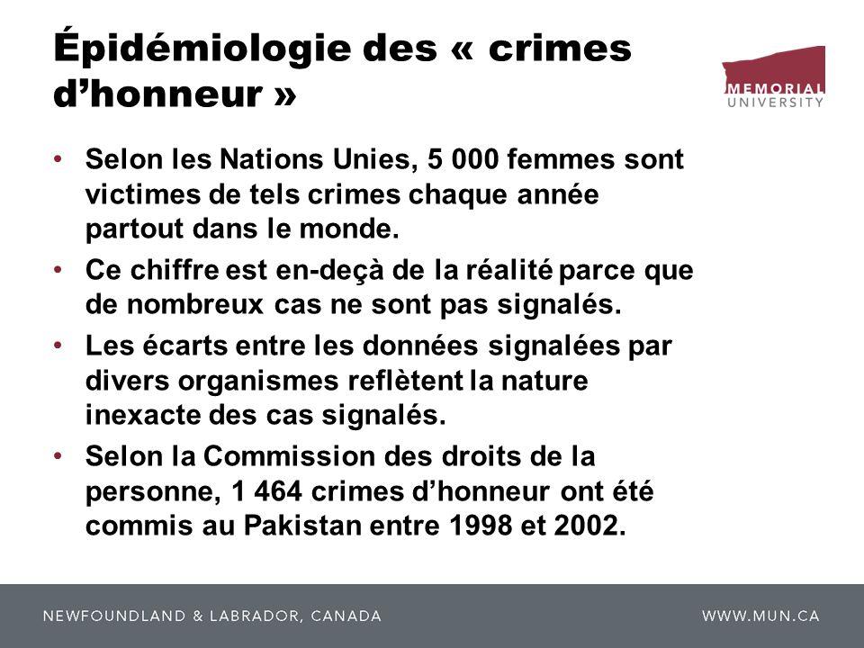 Épidémiologie des « crimes dhonneur » Selon les Nations Unies, 5 000 femmes sont victimes de tels crimes chaque année partout dans le monde. Ce chiffr