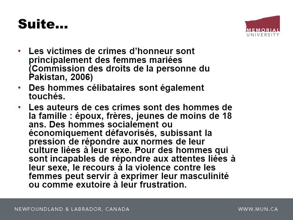 Suite… Les victimes de crimes dhonneur sont principalement des femmes mariées (Commission des droits de la personne du Pakistan, 2006) Des hommes céli