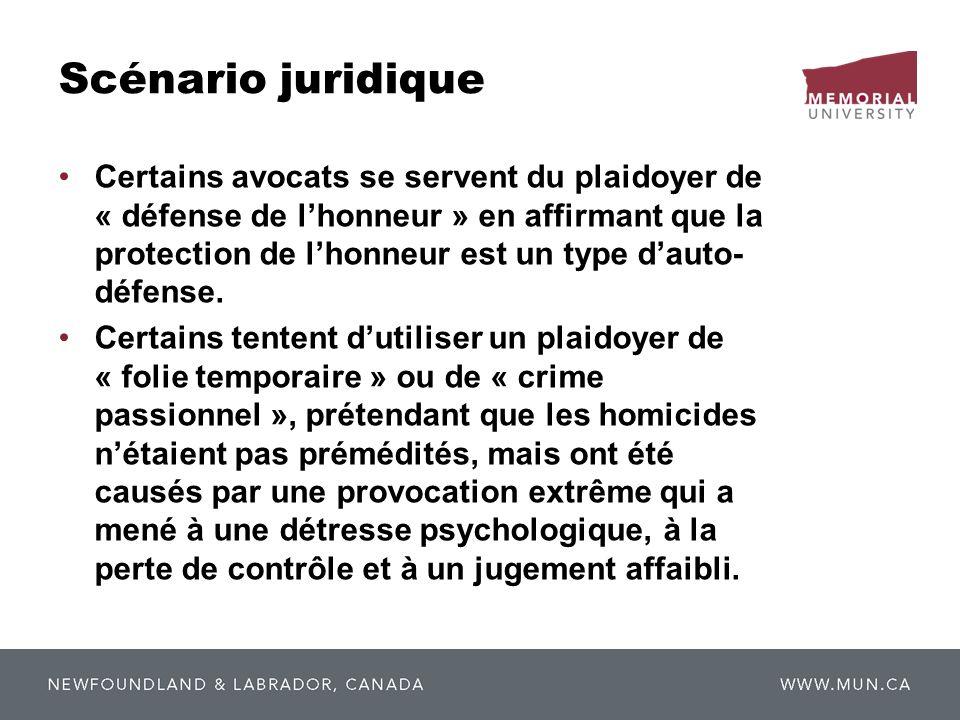 Scénario juridique Certains avocats se servent du plaidoyer de « défense de lhonneur » en affirmant que la protection de lhonneur est un type dauto d