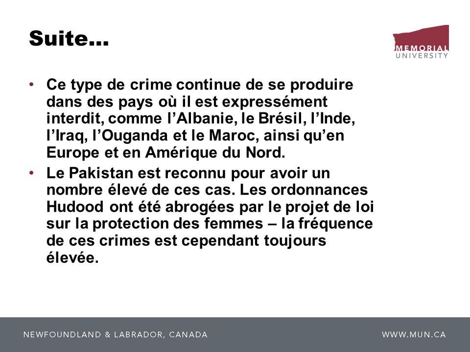 Suite… Ce type de crime continue de se produire dans des pays où il est expressément interdit, comme lAlbanie, le Brésil, lInde, lIraq, lOuganda et le
