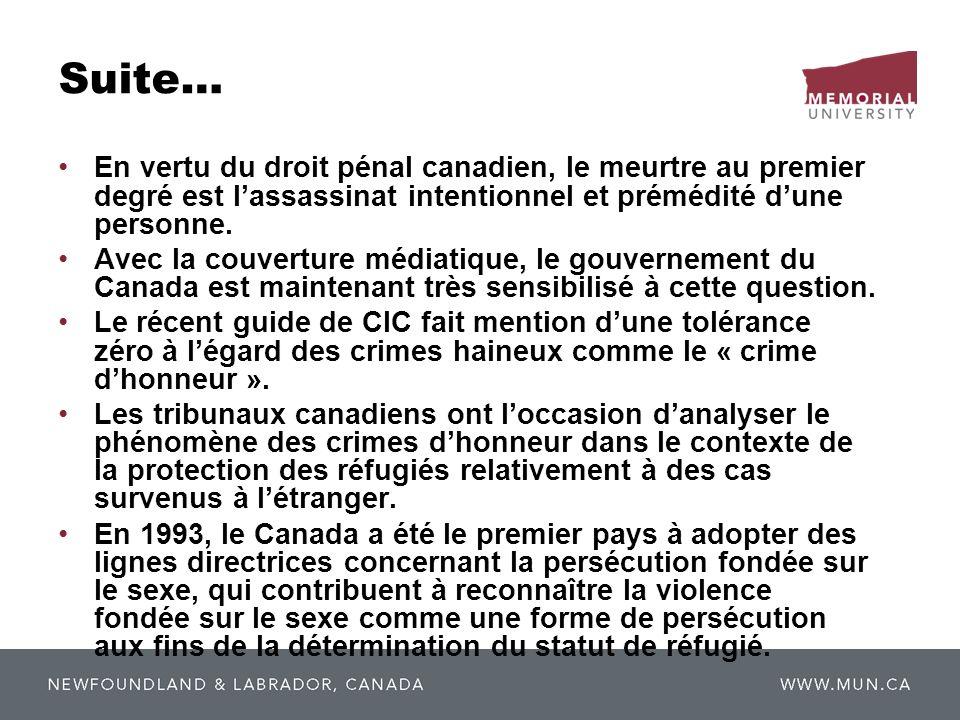 Suite… En vertu du droit pénal canadien, le meurtre au premier degré est lassassinat intentionnel et prémédité dune personne. Avec la couverture média