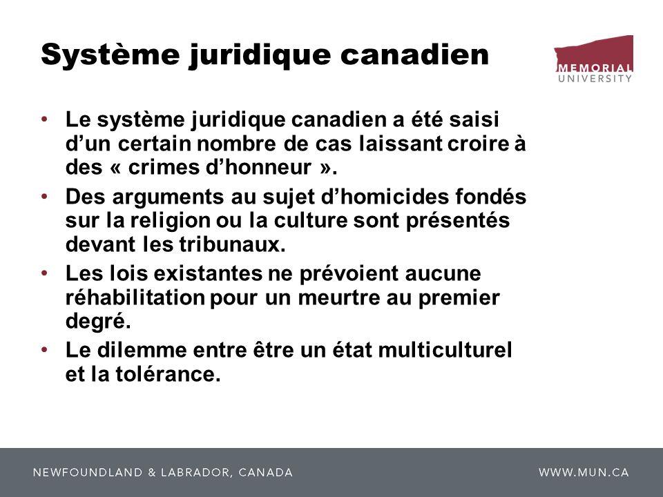 Système juridique canadien Le système juridique canadien a été saisi dun certain nombre de cas laissant croire à des « crimes dhonneur ». Des argument