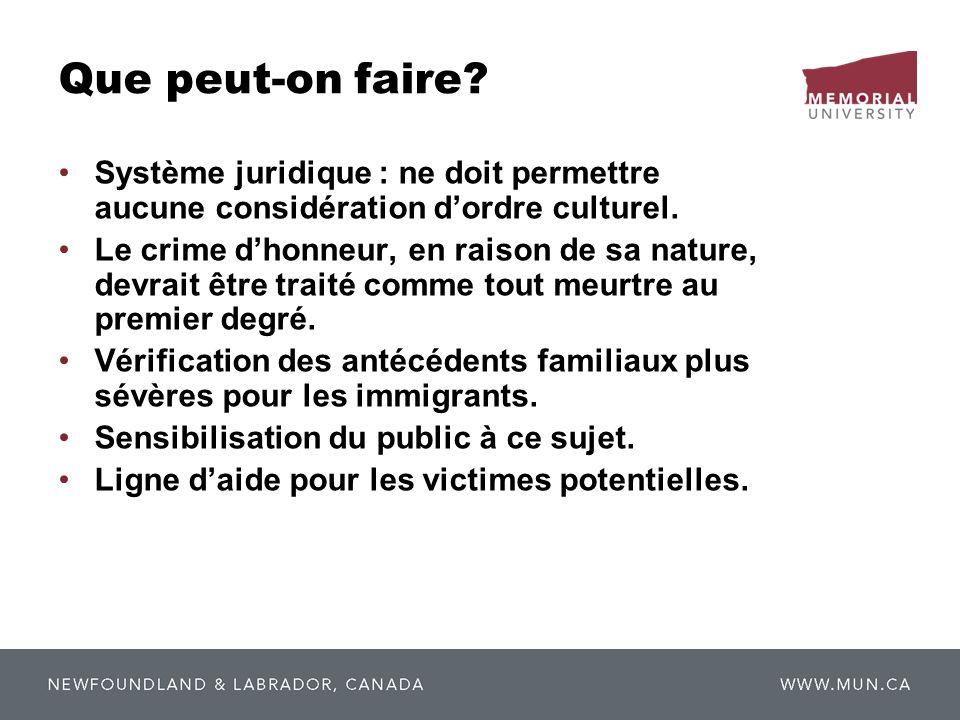 Que peut-on faire? Système juridique : ne doit permettre aucune considération dordre culturel. Le crime dhonneur, en raison de sa nature, devrait être