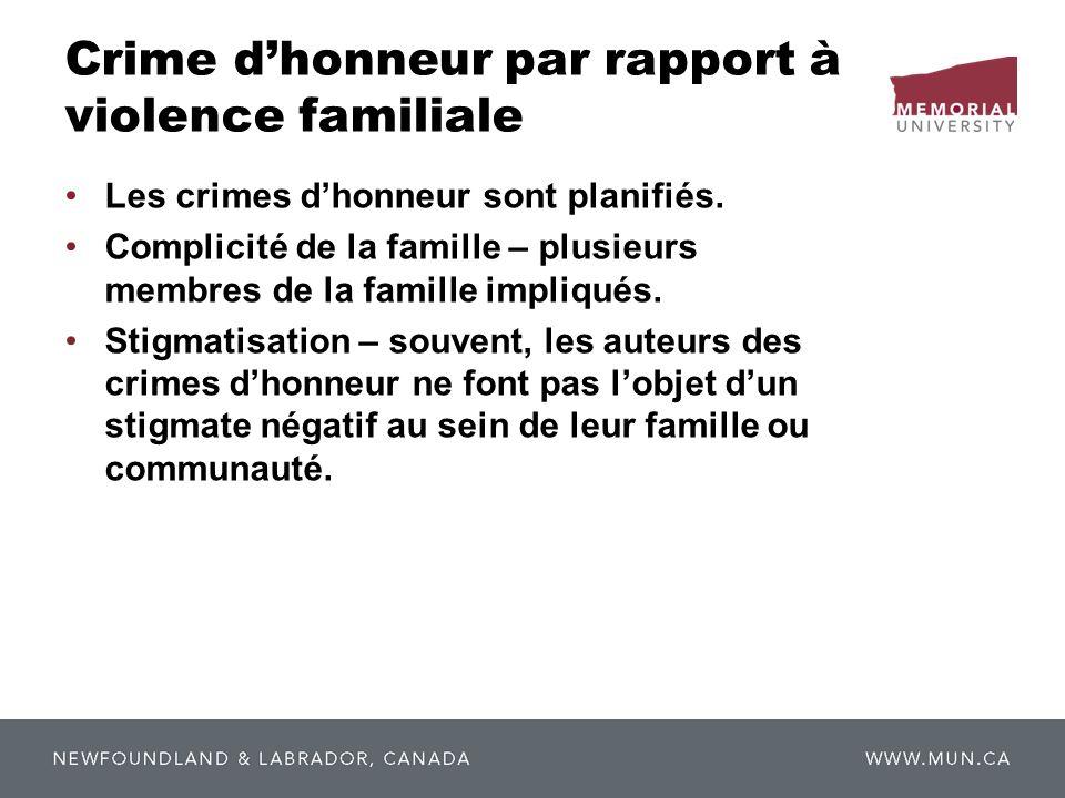 Crime dhonneur par rapport à violence familiale Les crimes dhonneur sont planifiés. Complicité de la famille – plusieurs membres de la famille impliqu