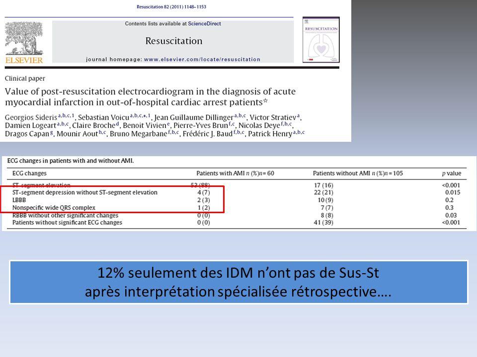 12% seulement des IDM nont pas de Sus-St après interprétation spécialisée rétrospective….