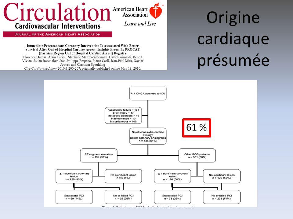 Origine cardiaque présumée 61 %