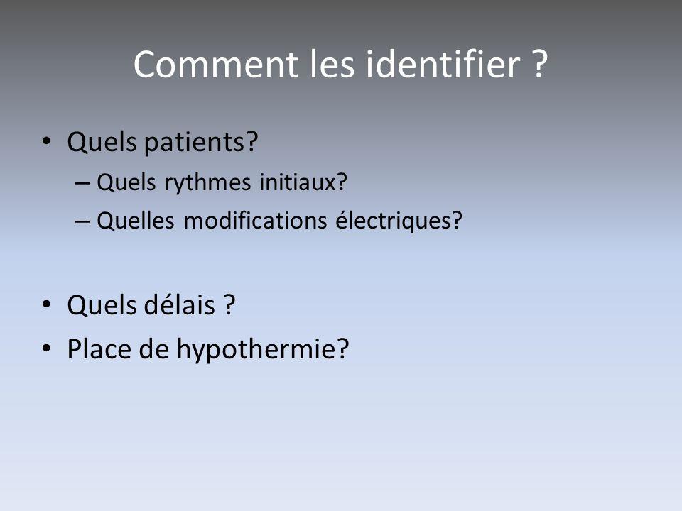 Comment les identifier ? Quels patients? – Quels rythmes initiaux? – Quelles modifications électriques? Quels délais ? Place de hypothermie?