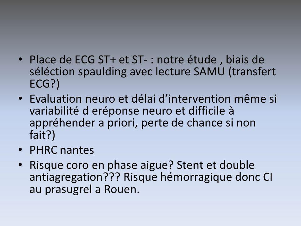 Place de ECG ST+ et ST- : notre étude, biais de séléction spaulding avec lecture SAMU (transfert ECG?) Evaluation neuro et délai dintervention même si