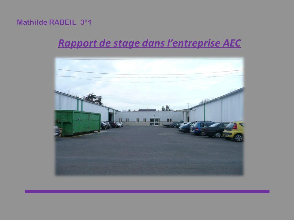 Mathilde RABEIL 3°1 Rapport de stage dans lentreprise AEC