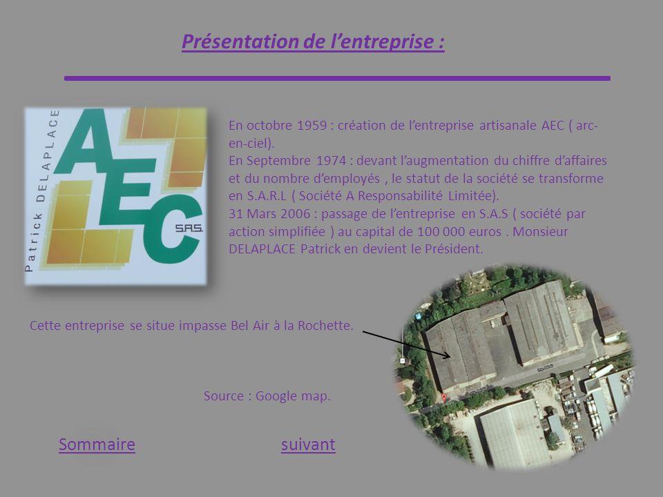 Présentation de lentreprise : Sommaire En octobre 1959 : création de lentreprise artisanale AEC ( arc- en-ciel). En Septembre 1974 : devant laugmentat