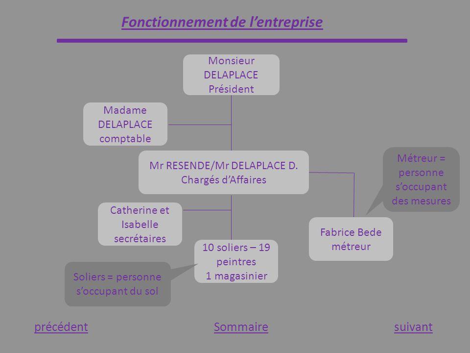 Fonctionnement de lentreprise Sommaire Monsieur DELAPLACE Président Madame DELAPLACE comptable Mr RESENDE/Mr DELAPLACE D. Chargés dAffaires Fabrice Be