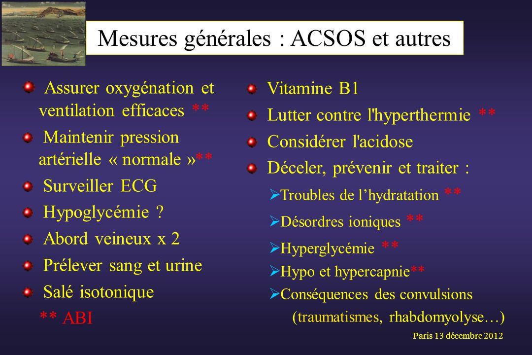 Assurer oxygénation et ventilation efficaces ** Maintenir pression artérielle « normale »** Surveiller ECG Hypoglycémie ? Abord veineux x 2 Prélever s