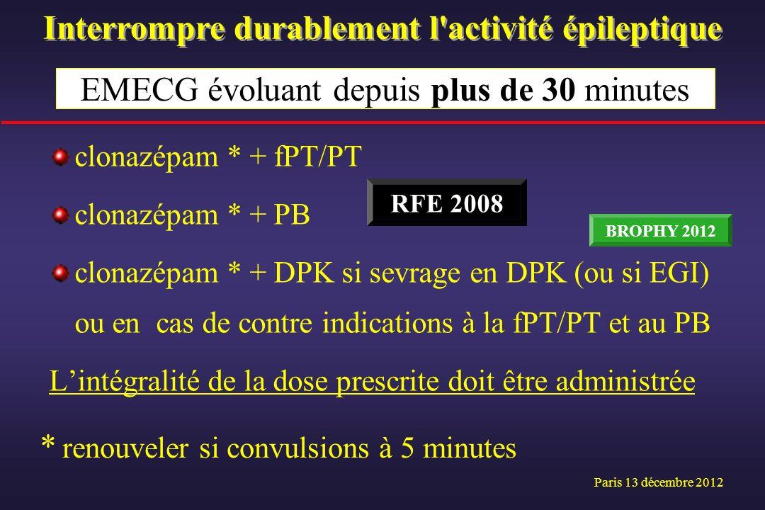 clonazépam * + fPT/PT clonazépam * + PB clonazépam * + DPK si sevrage en DPK (ou si EGI) ou en cas de contre indications à la fPT/PT et au PB Lintégra