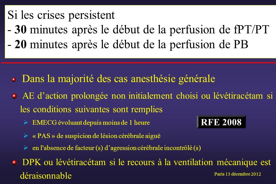 Dans la majorité des cas anesthésie générale AE daction prolongée non initialement choisi ou lévétiracétam si les conditions suivantes sont remplies E