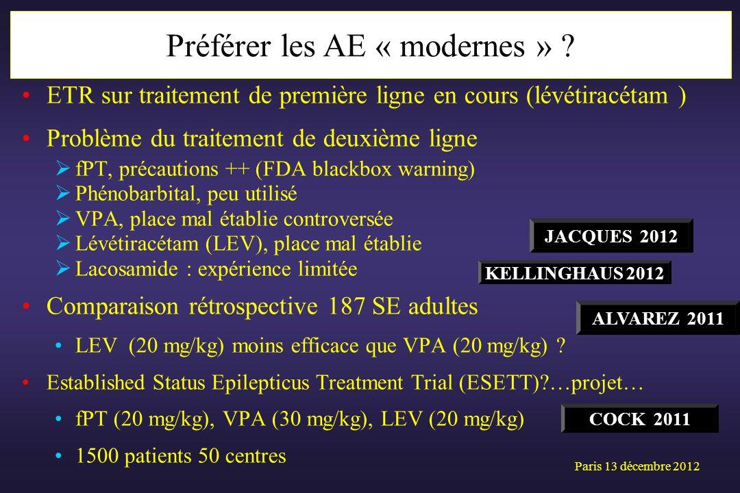 ETR sur traitement de première ligne en cours (lévétiracétam ) Problème du traitement de deuxième ligne fPT, précautions ++ (FDA blackbox warning) Phé