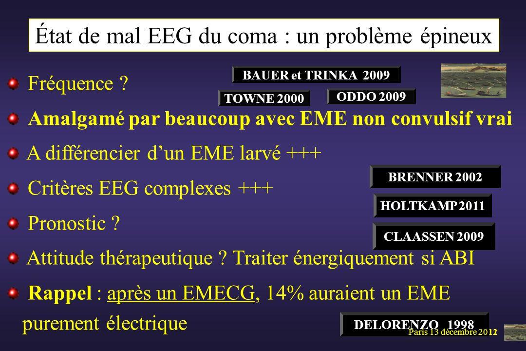 Paris 5 mai 2011 Fréquence ? Amalgamé par beaucoup avec EME non convulsif vrai A différencier dun EME larvé +++ Critères EEG complexes +++ Pronostic ?