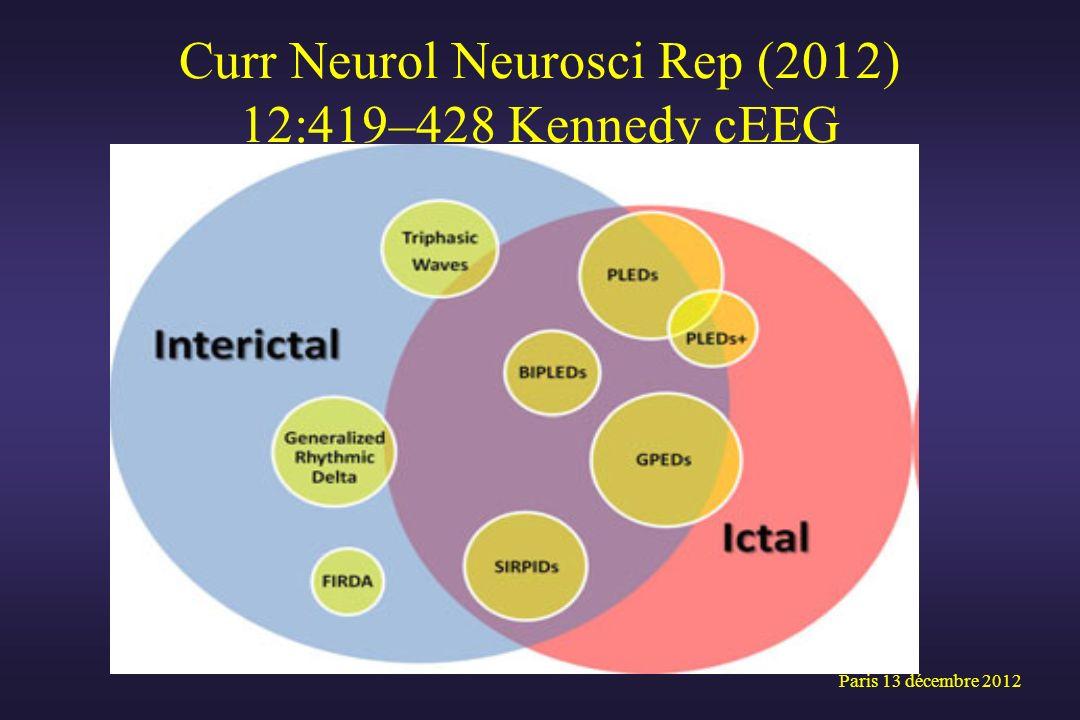 Curr Neurol Neurosci Rep (2012) 12:419–428 Kennedy cEEG Paris 13 décembre 2012