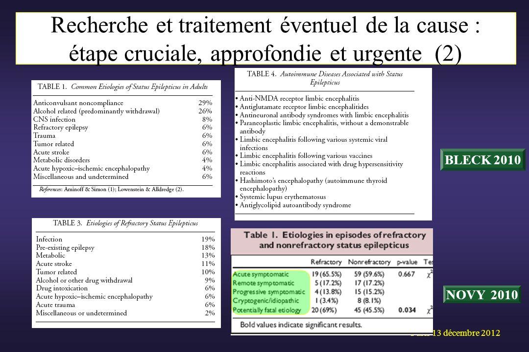 Paris 13 décembre 2012 Recherche et traitement éventuel de la cause (2) BLECK 2010 NOVY 2010 Recherche et traitement éventuel de la cause : étape cruc