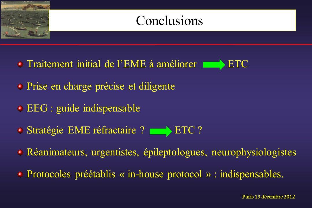 Traitement initial de lEME à améliorer ETC Prise en charge précise et diligente EEG : guide indispensable Stratégie EME réfractaire ? ETC ? Réanimateu