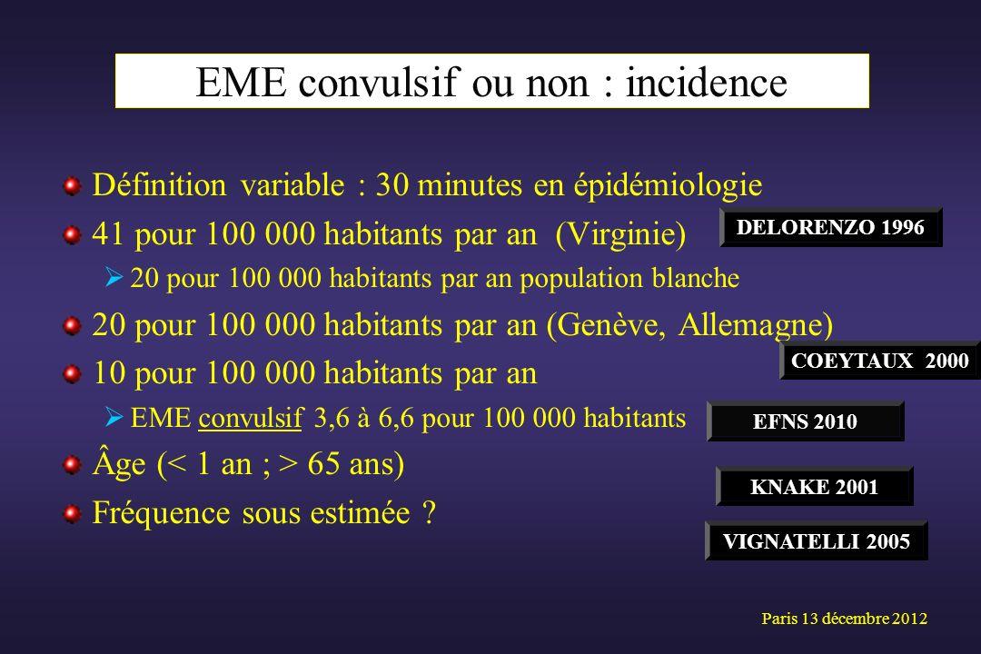 Définition variable : 30 minutes en épidémiologie 41 pour 100 000 habitants par an (Virginie) 20 pour 100 000 habitants par an population blanche 20 p