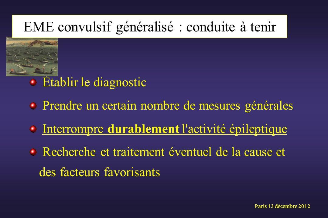 Établir le diagnostic Prendre un certain nombre de mesures générales Interrompre durablement l'activité épileptique Recherche et traitement éventuel d