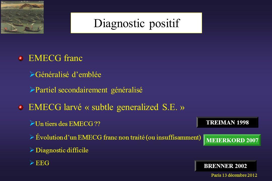 EMECG franc Généralisé demblée Partiel secondairement généralisé EMECG larvé « subtle generalized S.E. » Un tiers des EMECG ?? Évolution dun EMECG fra