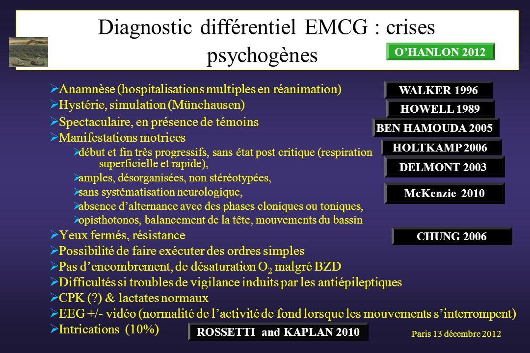Anamnèse (hospitalisations multiples en réanimation) Hystérie, simulation (Münchausen) Spectaculaire, en présence de témoins Manifestations motrices d